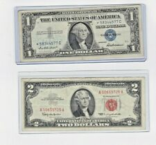 1953 or 63  $2 RED SEAL NOTE & 1957 $1 silver certificate STAR NOTE lot of 1 ea