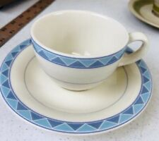 Royal Orchid Stoneware England Six Cups And Six Saucers Blue Triangle Design