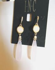 """MACY'S INC 3"""" GOLDTONE, CRYSTAL, FROSTED,FACETED LUCITE BRIOLETTE EARRINGS NWT"""