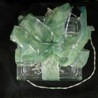 Vintage Christmas Present Lighted Glass Block Green Ribbon Tabletop Centerpiece