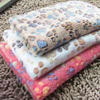 Pet Warm Mat Small/Large Paw Print Cat Dog Puppy Fleece Soft Blanket Bed Cushion