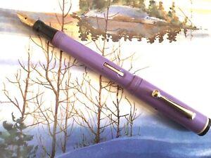 1929 Conklin All American Fountain Pen, Lilac Purple LF, 14K Smooth Flex Nib