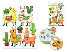 LLAMA with CACTI wall stickers 9 colorful 3-D pop-up decals western cactus