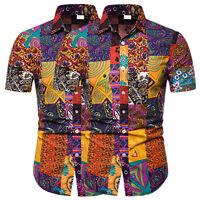 Herren Hemd Hemden Freizeithemd Slim Sommer Kentkragen Kurzarmhemd Hawaiihemd