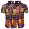 Herren Hemd Hawaiihemd Kurzarm Tshirt Sommer Slim Fit Strand Freizeithemd Top DE