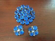 VINTAGE BLUE RHINESTONE BROOCH & EARRINGS SET