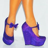LADIES PURPLE SPARKLY GLITTER BOW STRAPPY WEDGE PLATFORM HIGH HEELS SHOES 3-8