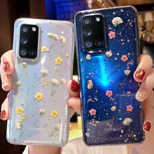 For Samsung Galaxy A21S A51 A71 S20 Pressed Real Flower Glitter Clear Case Cover