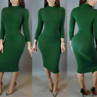 Autumn Spring Women Long Sleeve Lady Bodycon Sexy Slim O-neck Casual Dress