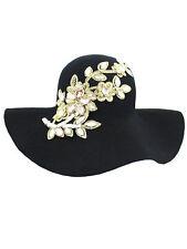 BLACK WOOL FLOPPY HAT WITH RHINESTONE FLOWER