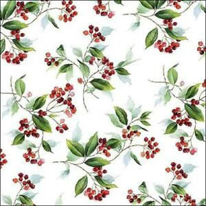 4  decoupage scrapbook Christmas winter foliage - holly berry decoupage napkins
