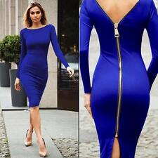 Autumn Fashion Back zipper Bodycon Short Mini Casual Dress Long Sleeve Party