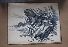Maximilien LUCE - Dessin original signé lavis et fusain arbre