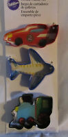 Wilton Cookie Cutter Cutters Metal Set Lot of 3 TRANSPORTATION Train Car Plane