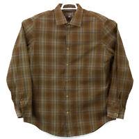 Banana Republic Classic Fit Brown Plaid Long Sleeve Button Up Shirt Men's XL euc