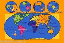 8 X 11 KIDS CHILDREN EDUCATIONAL WORLD MAP CLASS ROOM BEDROOM AREA RUG NON SKID
