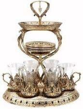 19 Pc Ottoman Style Turkish Tea Set for 6 w/ Tower Tray Stand (Antique Gold)