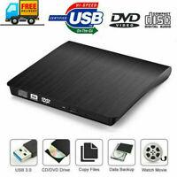 USB 3.0 External CD Drive Portable CD DVD+/RW Drive Slim Rewriter Burner Copier