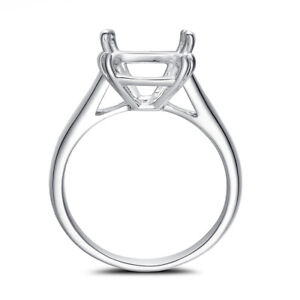 Cushion 10x10mm Ring Solid 18k White Gold Precious Metal without Stones Wedding