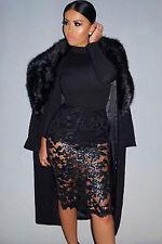 Abito a cono ricamato Scollo trasparente nudo Sequin Embroidered Bodycon Dress M