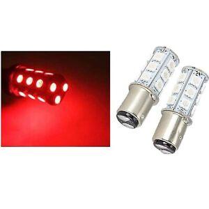 Pair #1157 Red 18 SMD LED Tail Light Rear Brake Stop Turn Signal Lamp 12v Bulbs
