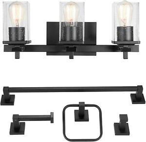 Dakota 20 in 3-Light Matte Black Vanity Light with Accessories by Globe Electric