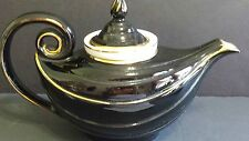 Hall USA 6 Cup Alladdin Teapot With Infuser Black With Gold Trim Rare Vintage