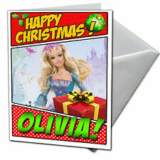 BARBIE Personalised Christmas Card! FREE 1st Class Shipping! CHRLAS16