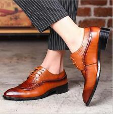 Mens Leather Lace Up Formal Business Shoes Wing Pointed Toe Wedding Dress SZ6-12