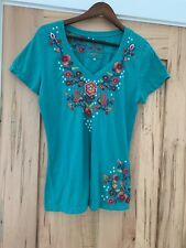 JW Los Angeles SZ LARGE JOHNNY WAS Embroidered Short Sleeve V-Neck Tee SHIRT TOP