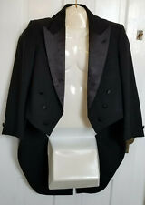 Dior Mens Black Satin Tuxedo Tux Tails Formal Dinner Vest Suspender Cummerbund