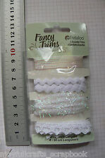 WHITE Sparkle GLITZ Trim Packs 4 Asst Styles 90cm Ea CHRISTMAS Colours Petaloo