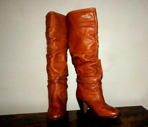vintage 70s 80s SEXY slouch tall natural leather campus boots size 8 8.5 Zodiac?