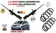 FOR TOYOTA YARIS VVTI + D4D 2005-> 2 X FRONT SHOCK ABSORBERS + 2 COIL SPRING SET