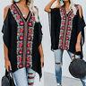 Summer Women Plus Size Tunic Top V Neck Cold Shoulder Floral Club T Shirt Blouse