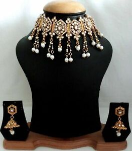 Indian Gold Plated Pearl White Rhinestone Fashion Bridal Choker Necklace Set