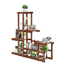 Wood Plant Stand Indoor Outdoor Flower Rack Bonsai Display Shelf Multi Tier