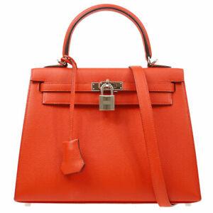 HERMES KELLY 25 SELLIER 2way Hand Bag DAP862 Rouge coeur Veau Epsom 80493