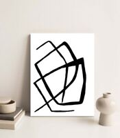 Original Abstract Mid Century Modern Canvas Art Painting Stretched Ready to Hang