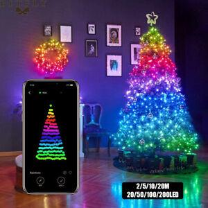 Christmas Tree Decor Bluetooth Led String Lights Merry Xmas USB Smart Lamp Gifts