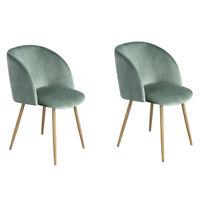 2er Silky Samt Akzent Sessel für kleine Küche Esszimmer Büro Stühle Sessel Grün