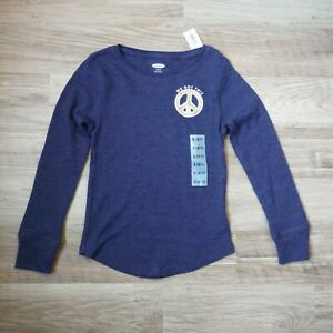 Old Navy Heather Blue Peace sign Thermal Tee Shirt S 6-7 Girls Long sleeves new