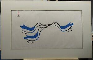 "Lucy Qinnuayuak Rare 1961 Sealskin Stencil Inuit Print ""Three Birds"" Listed"