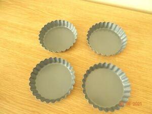 """4"""" dia  non stick Round fluted edge Baking Dish Tart Tin Quiche Pan Flan"""