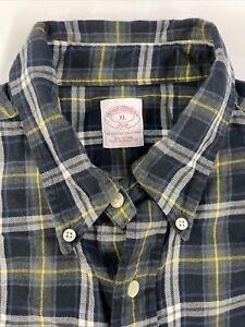 Brooks Brothers 346 Men's Blue Plaid Long Sleeve Button Down Shirt Size XL