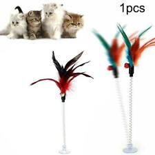 cat toys spring feather cat toy with bell pet toy sucker stick interactive I1S6