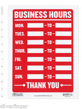 Business Hours Sign Open Mon Sun Write In From To Times Store Office Shop 9x12