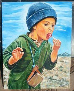 Painting Signed Original Watercolor Acrylic Painting Tableau un Enfant Marocain