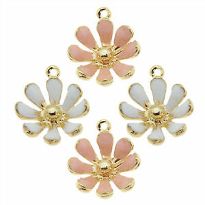 Pack of 20pcs White/Pink Alloy Mixed Daisy Flowers Jewelry Pendant Charms Crafts