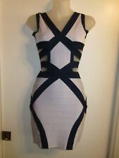 Dress S Bodycon High Quality Bandage Color Block Blue Navy Sky Cutouts Cocktail